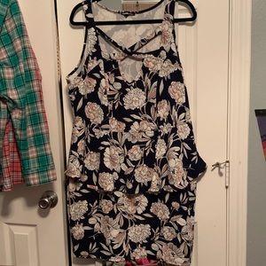 Charlotte Russe Plus peplum tank dress floral 3X